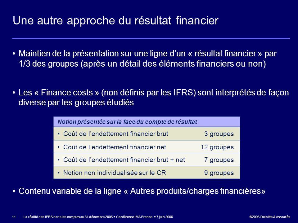 Une autre approche du résultat financier