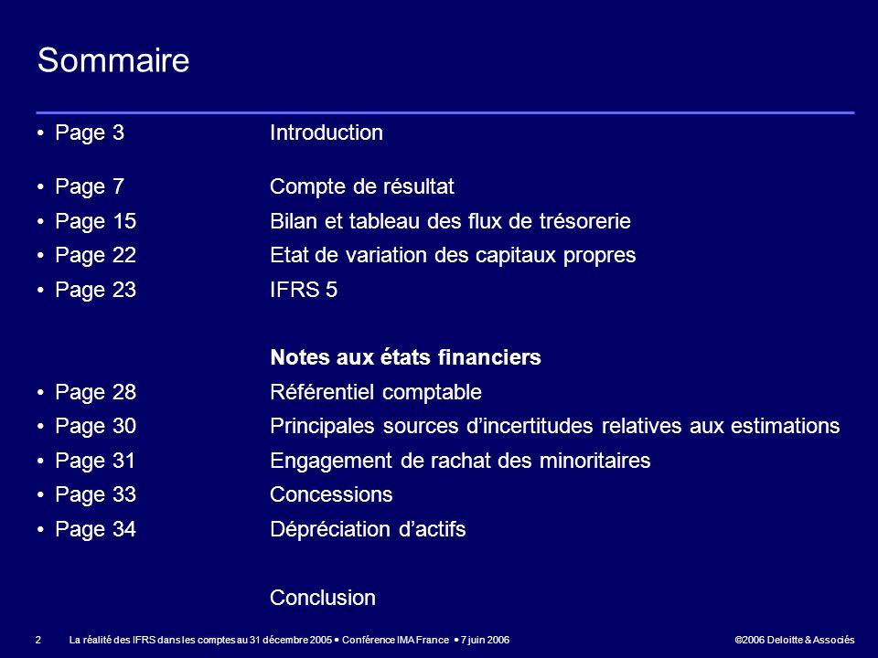 Sommaire Page 3 Introduction Page 7 Compte de résultat