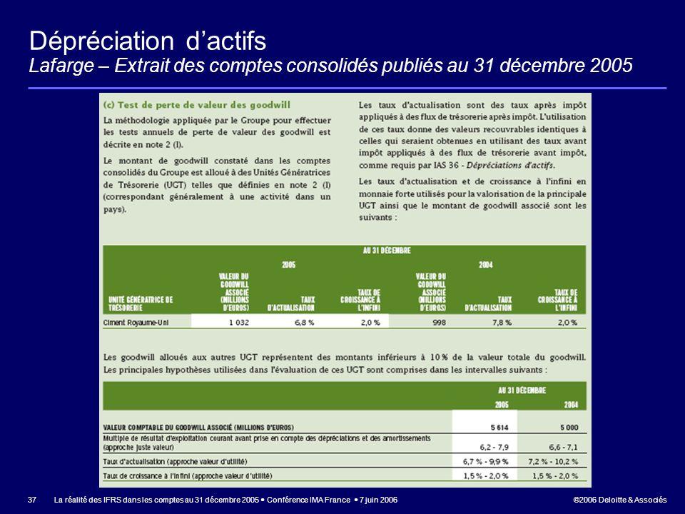 Dépréciation d'actifs Lafarge – Extrait des comptes consolidés publiés au 31 décembre 2005
