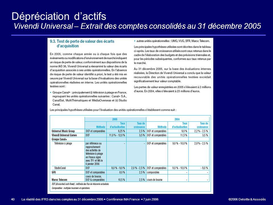 Dépréciation d'actifs Vivendi Universal – Extrait des comptes consolidés au 31 décembre 2005