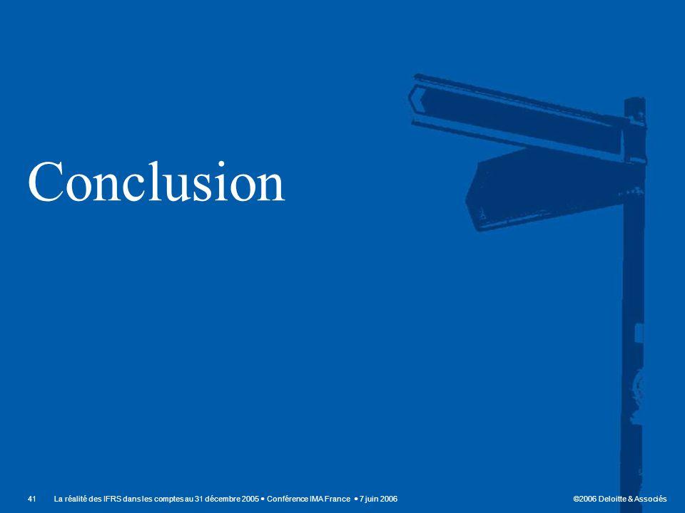 Conclusion La réalité des IFRS dans les comptes au 31 décembre 2005  Conférence IMA France  7 juin 2006.