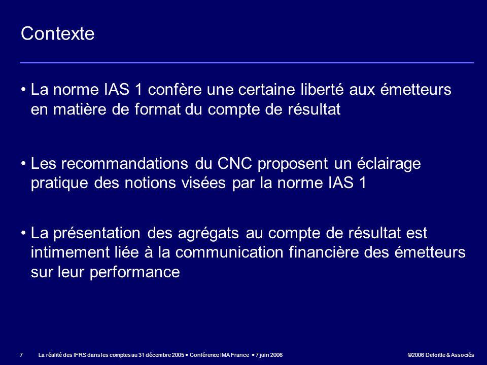 Contexte La norme IAS 1 confère une certaine liberté aux émetteurs en matière de format du compte de résultat.