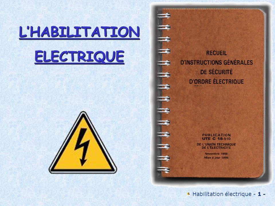 L'HABILITATION ELECTRIQUE