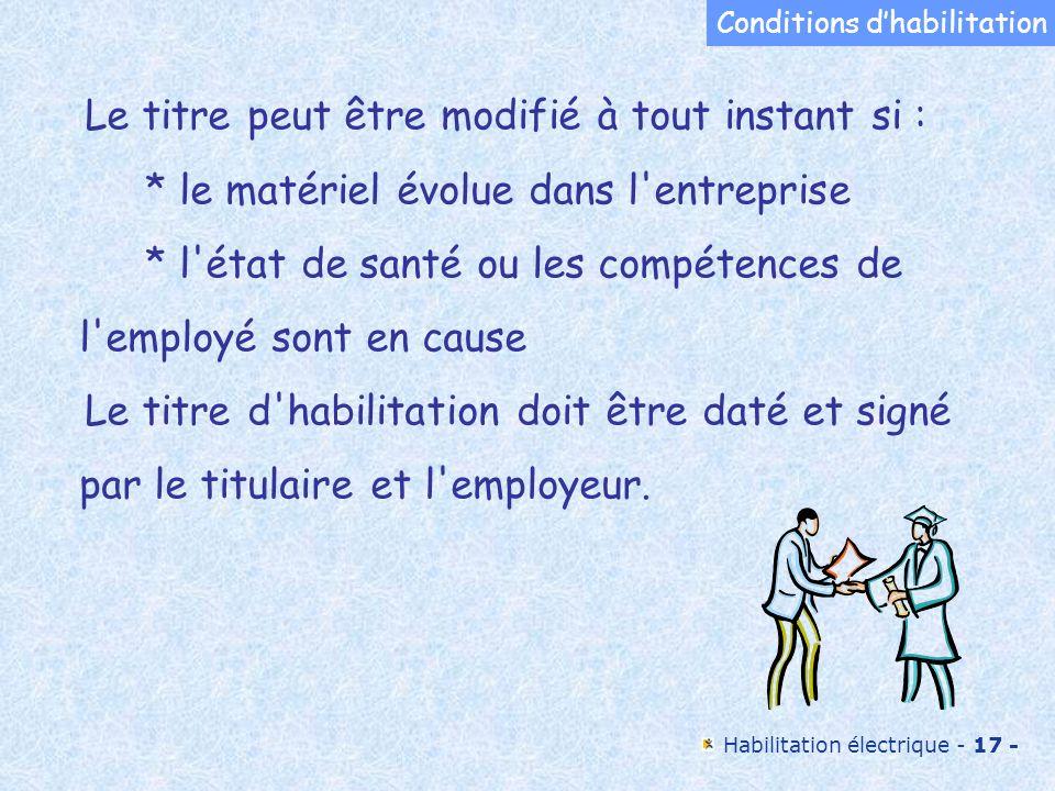 Conditions d'habilitation