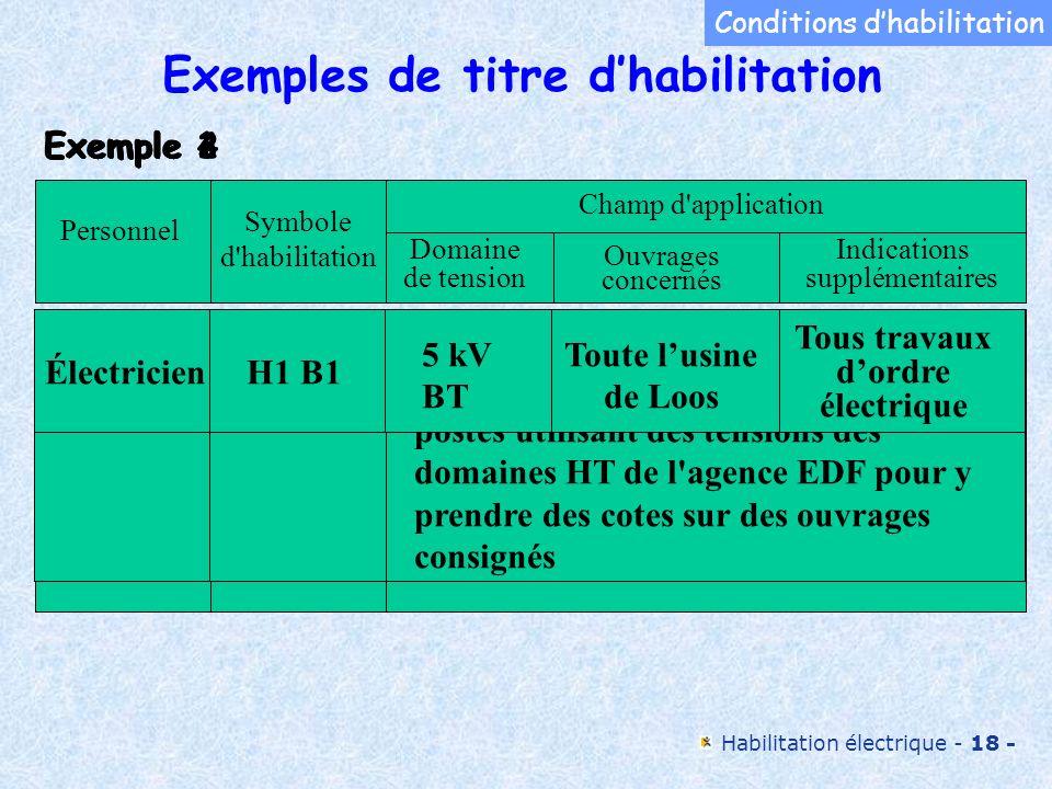Exemples de titre d'habilitation