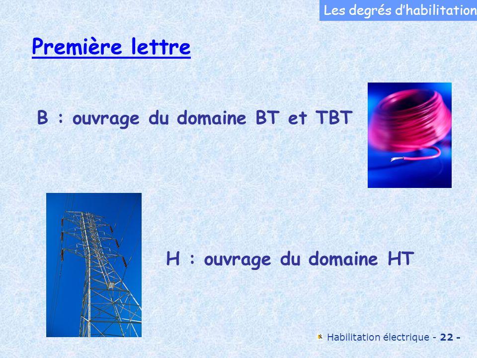 Première lettre B : ouvrage du domaine BT et TBT