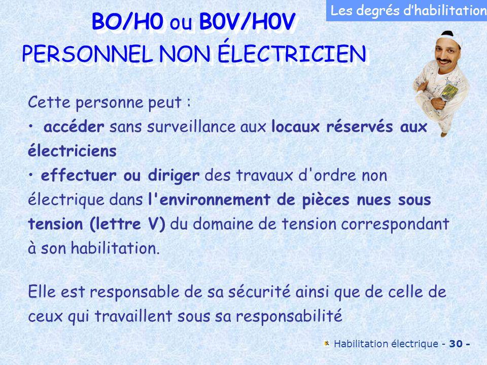 BO/H0 ou B0V/H0V PERSONNEL NON ÉLECTRICIEN