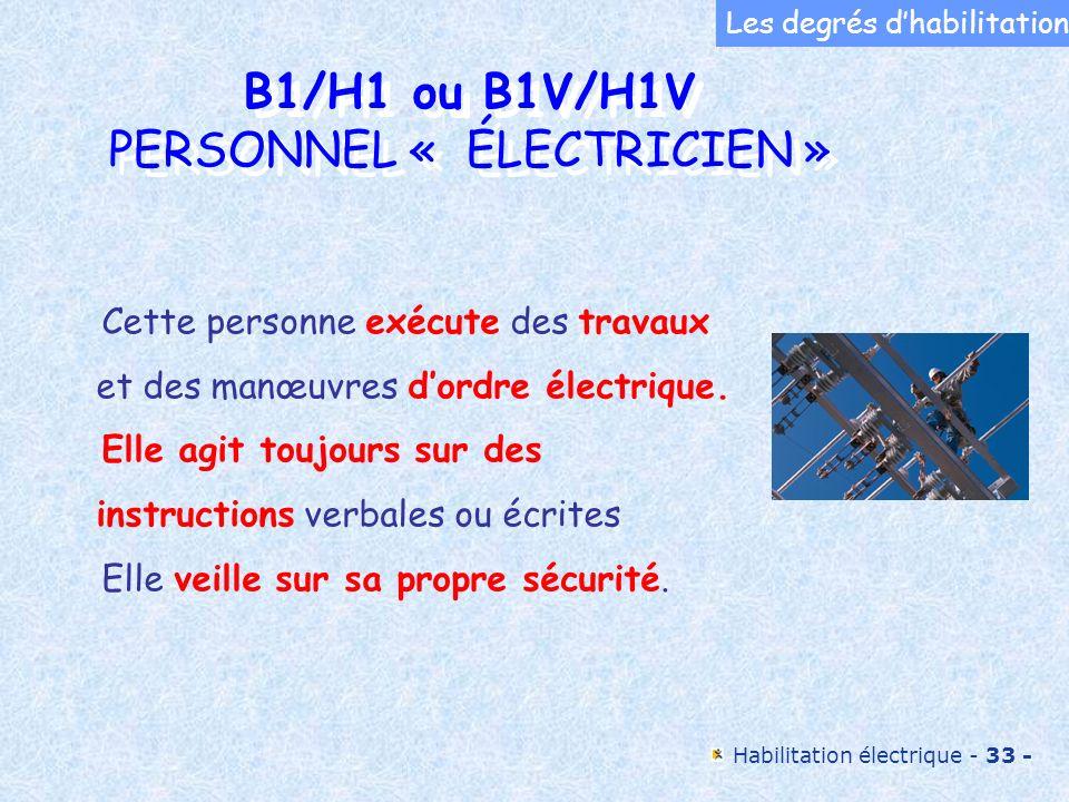 B1/H1 ou B1V/H1V PERSONNEL « ÉLECTRICIEN »