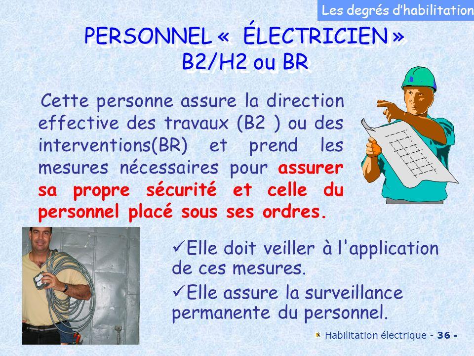 PERSONNEL « ÉLECTRICIEN » B2/H2 ou BR