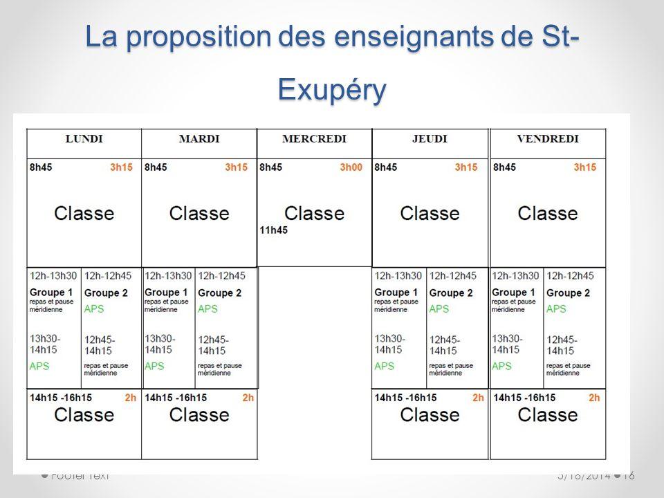 La proposition des enseignants de St-Exupéry