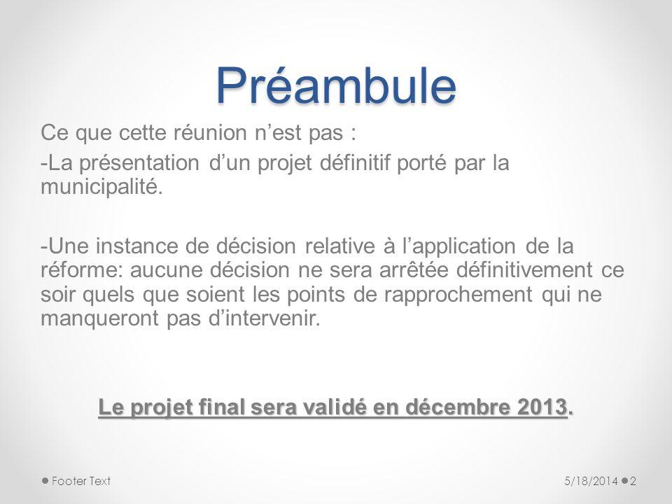 Le projet final sera validé en décembre 2013.