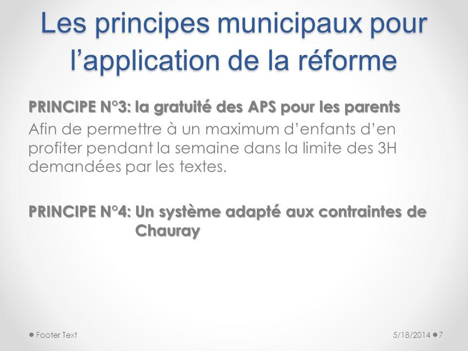 Les principes municipaux pour l'application de la réforme