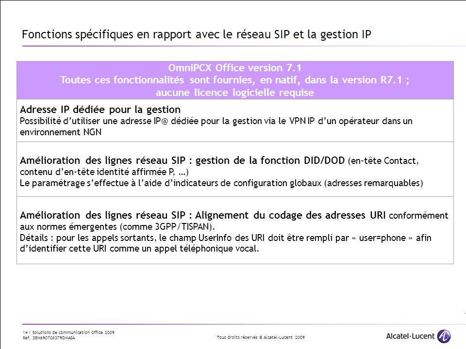 Fonctions spécifiques en rapport avec le réseau SIP et la gestion IP