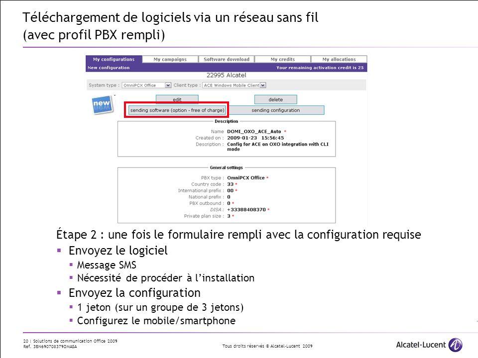 Téléchargement de logiciels via un réseau sans fil (avec profil PBX rempli)