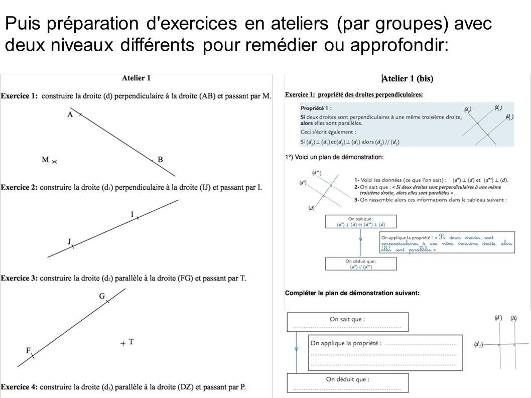 Puis préparation d exercices en ateliers (par groupes) avec deux niveaux différents pour remédier ou approfondir: