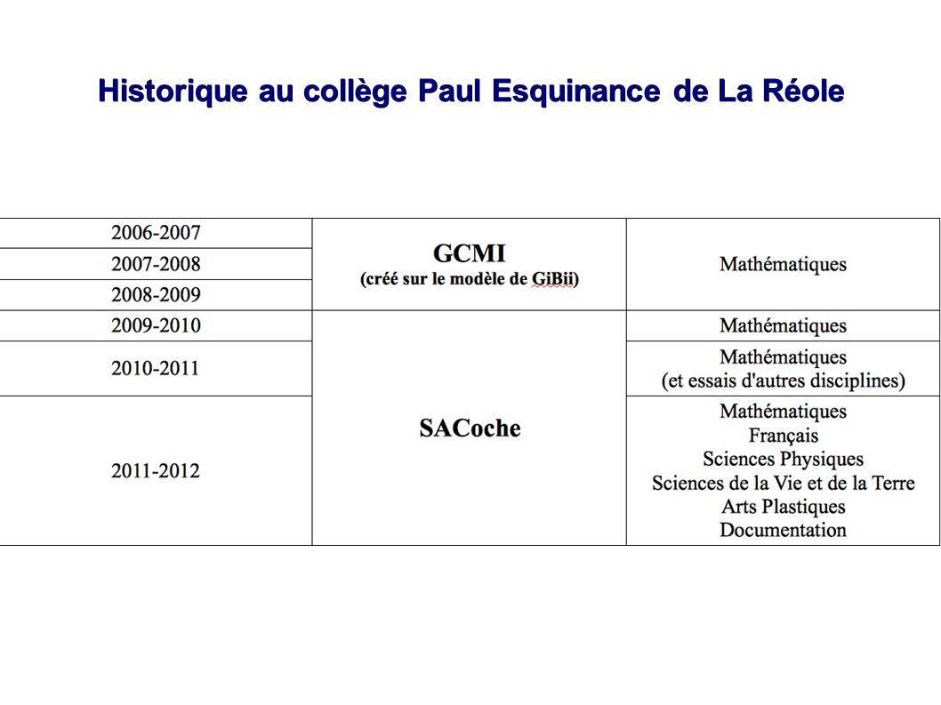 Historique au collège Paul Esquinance de La Réole