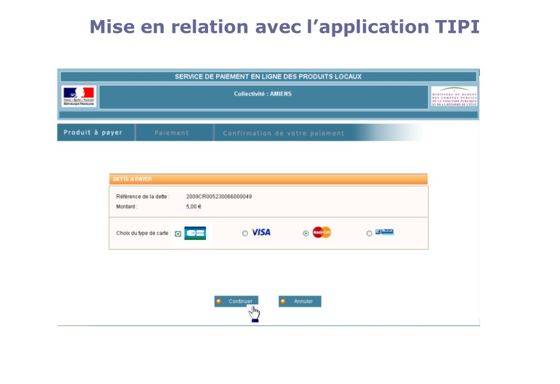 Mise en relation avec l'application TIPI