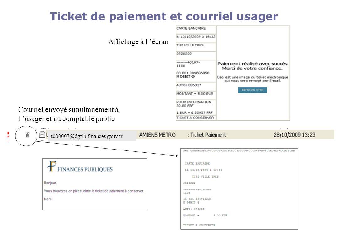 Ticket de paiement et courriel usager