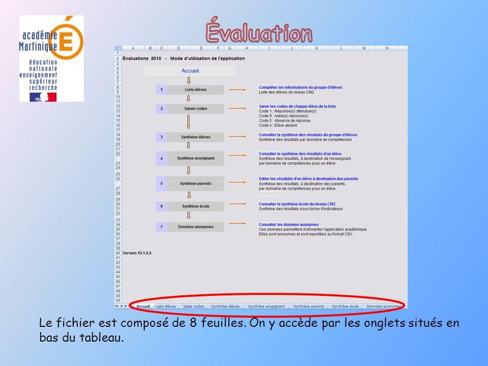 Évaluation Le fichier est composé de 8 feuilles.