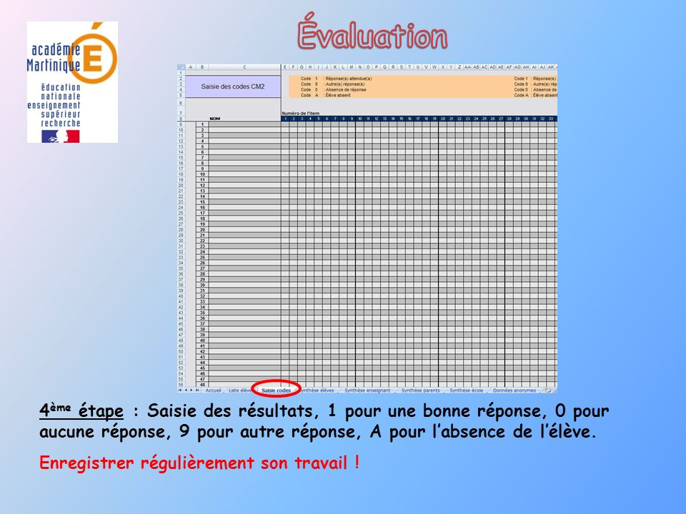 Évaluation 4ème étape : Saisie des résultats, 1 pour une bonne réponse, 0 pour aucune réponse, 9 pour autre réponse, A pour l'absence de l'élève.