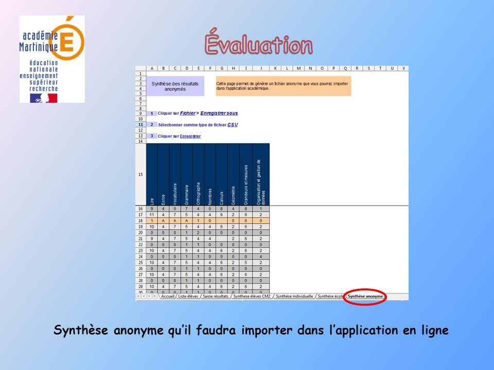 Synthèse anonyme qu'il faudra importer dans l'application en ligne
