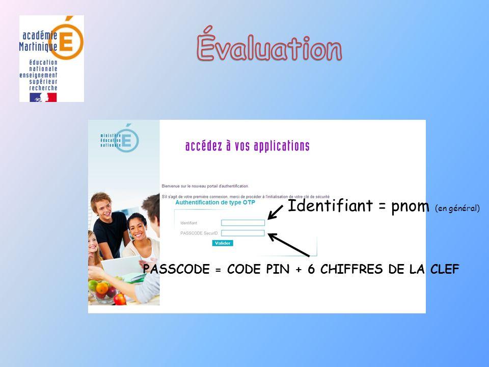 PASSCODE = CODE PIN + 6 CHIFFRES DE LA CLEF