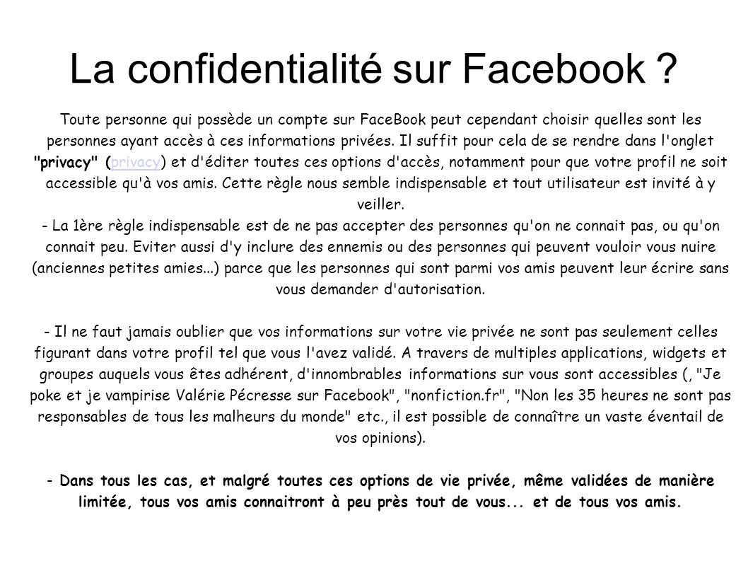 La confidentialité sur Facebook