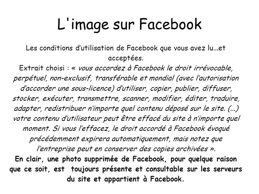 L image sur Facebook Les conditions d'utilisation de Facebook que vous avez lu...et acceptées.