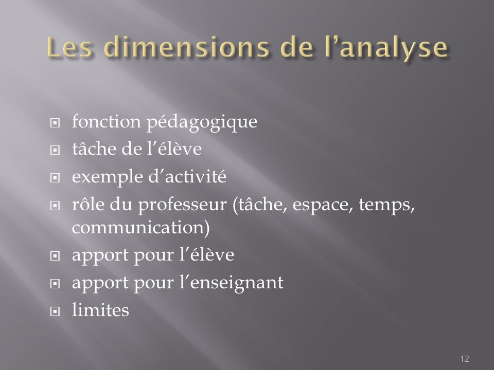 Les dimensions de l'analyse