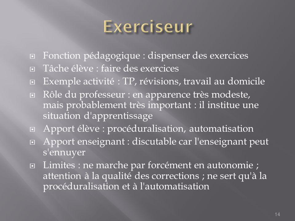 Exerciseur Fonction pédagogique : dispenser des exercices