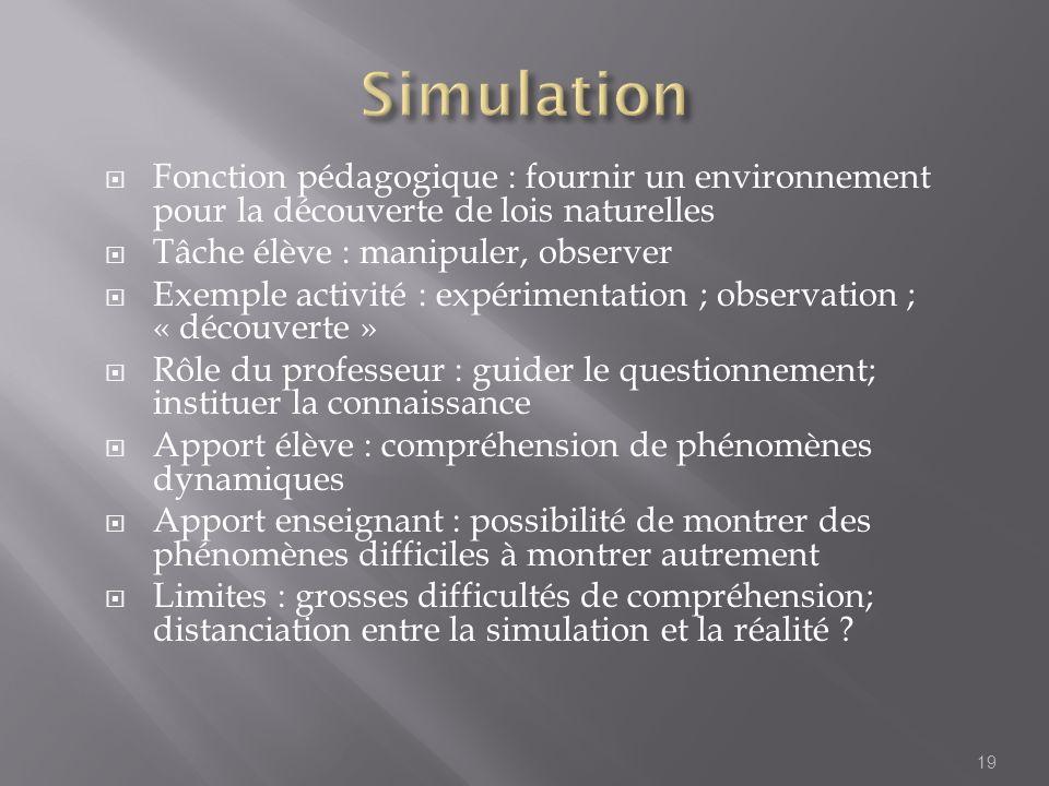 31/03/2017 Simulation. Fonction pédagogique : fournir un environnement pour la découverte de lois naturelles.