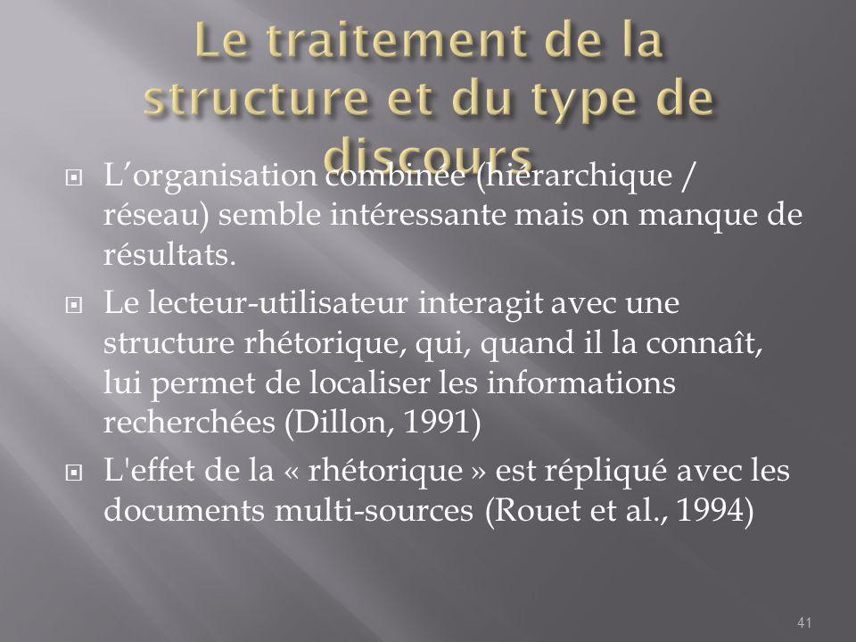 Le traitement de la structure et du type de discours