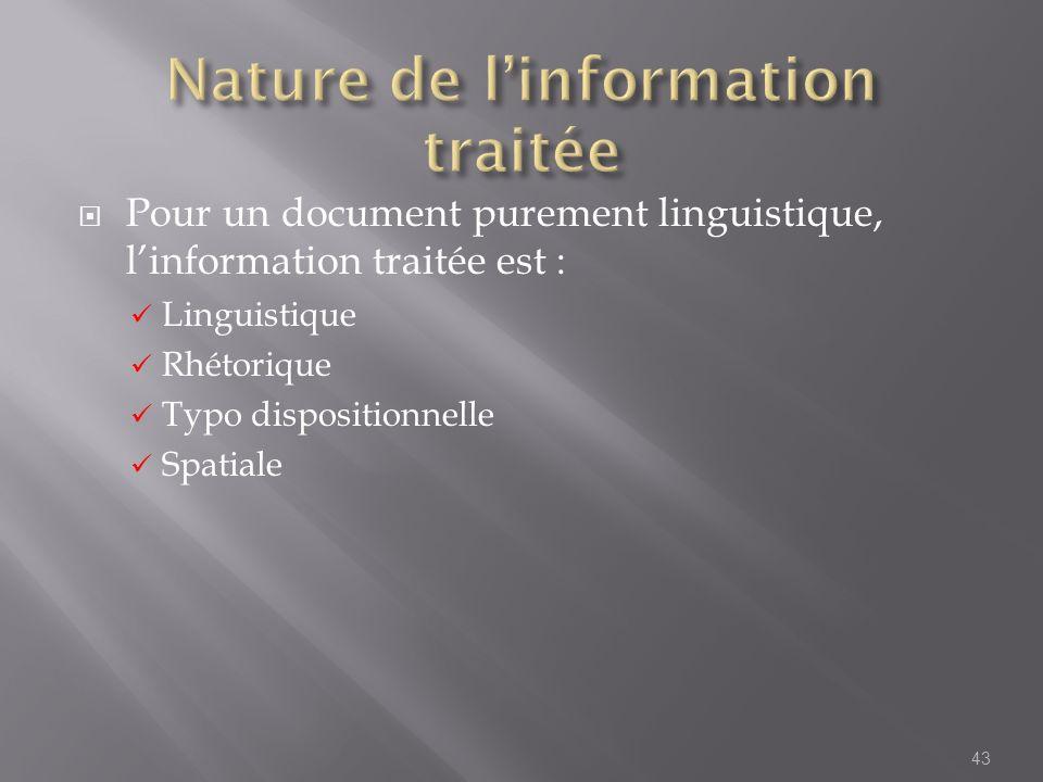 Nature de l'information traitée