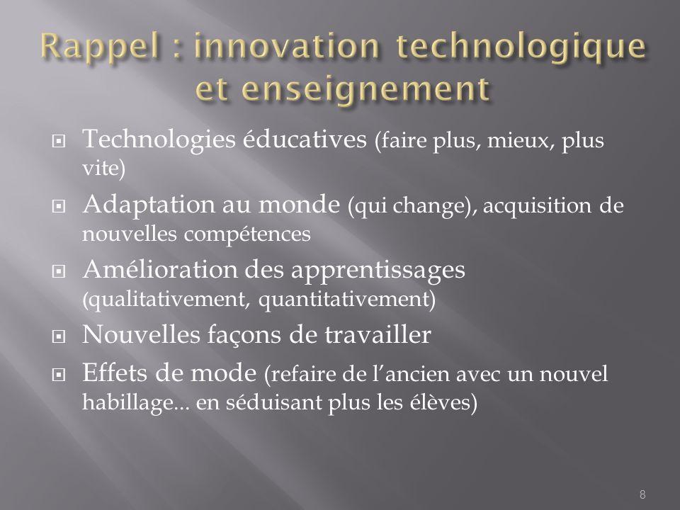 Rappel : innovation technologique et enseignement