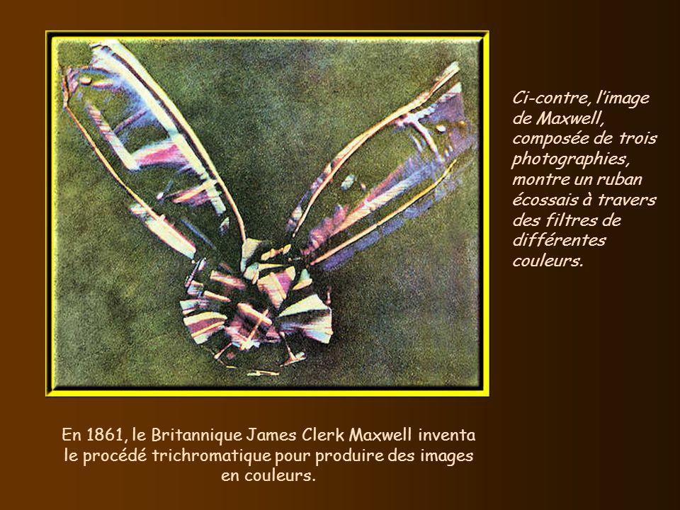 Ci-contre, l'image de Maxwell, composée de trois photographies, montre un ruban écossais à travers des filtres de différentes couleurs.