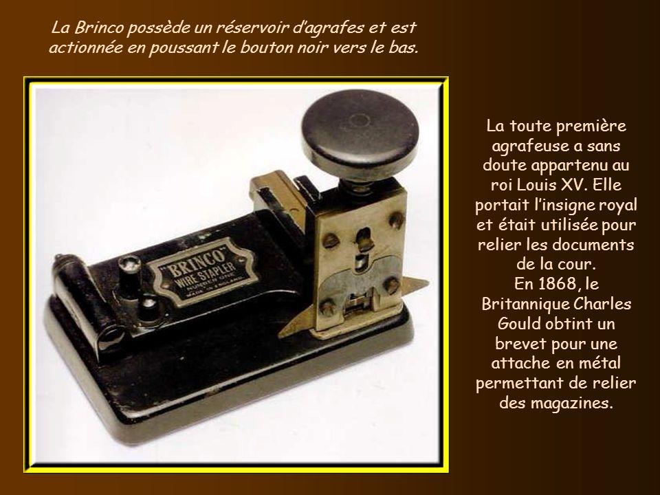 La Brinco possède un réservoir d'agrafes et est actionnée en poussant le bouton noir vers le bas.