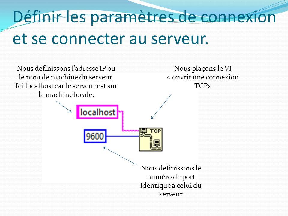 Définir les paramètres de connexion et se connecter au serveur.
