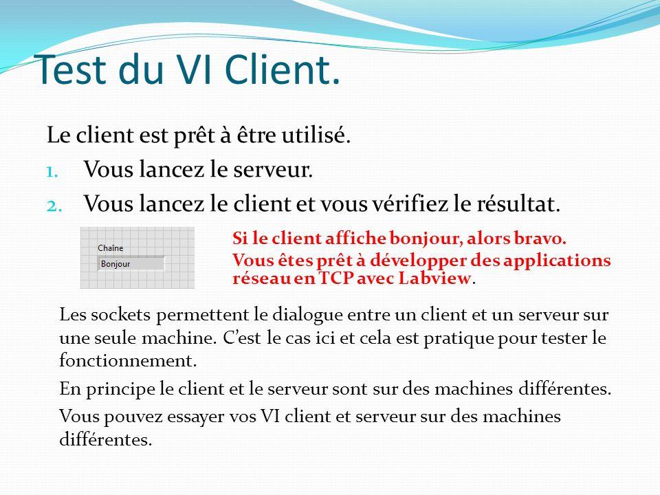 Test du VI Client. Le client est prêt à être utilisé.