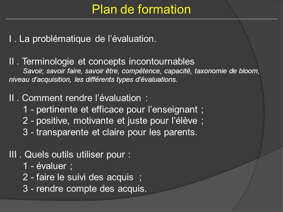 Plan de formation I . La problématique de l'évaluation.