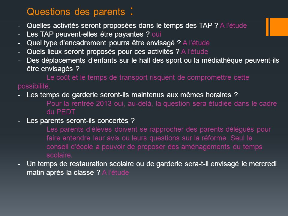 Questions des parents :
