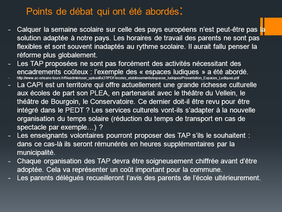 Points de débat qui ont été abordés: