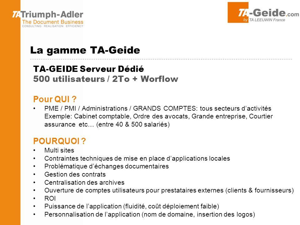 La gamme TA-Geide TA-GEIDE Serveur Dédié 500 utilisateurs / 2To + Worflow. Pour QUI