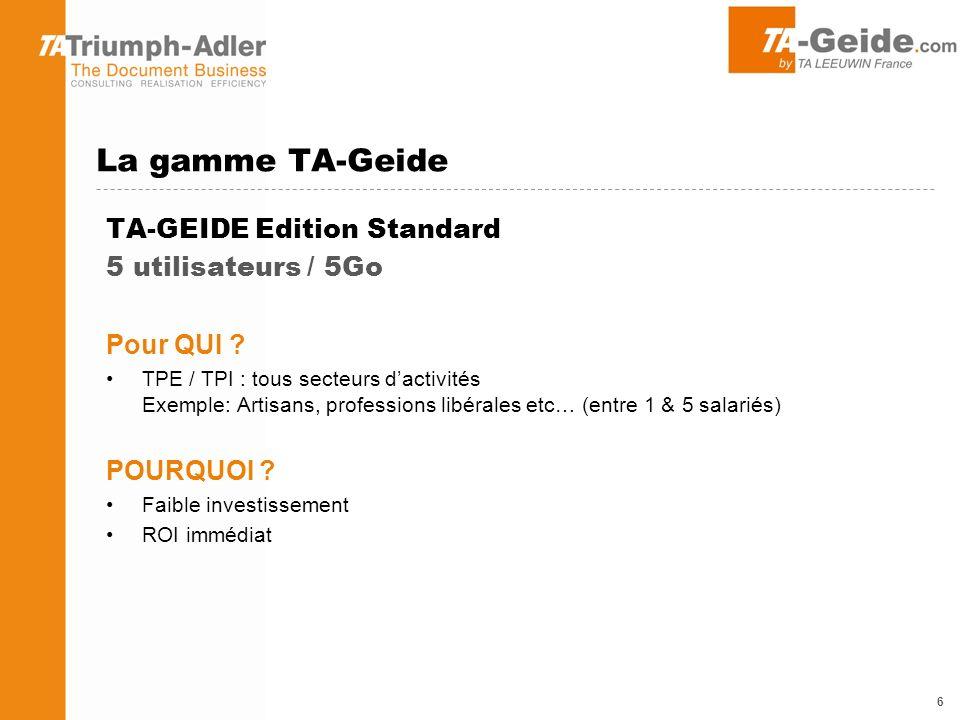 La gamme TA-Geide TA-GEIDE Edition Standard 5 utilisateurs / 5Go