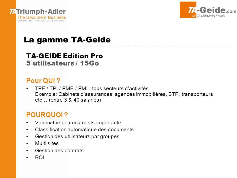 La gamme TA-Geide TA-GEIDE Edition Pro 5 utilisateurs / 15Go