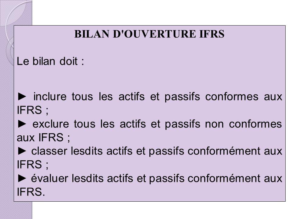 BILAN D OUVERTURE IFRS Le bilan doit : ► inclure tous les actifs et passifs conformes aux IFRS ;