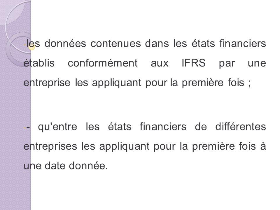 les données contenues dans les états financiers établis conformément aux IFRS par une entreprise les appliquant pour la première fois ;