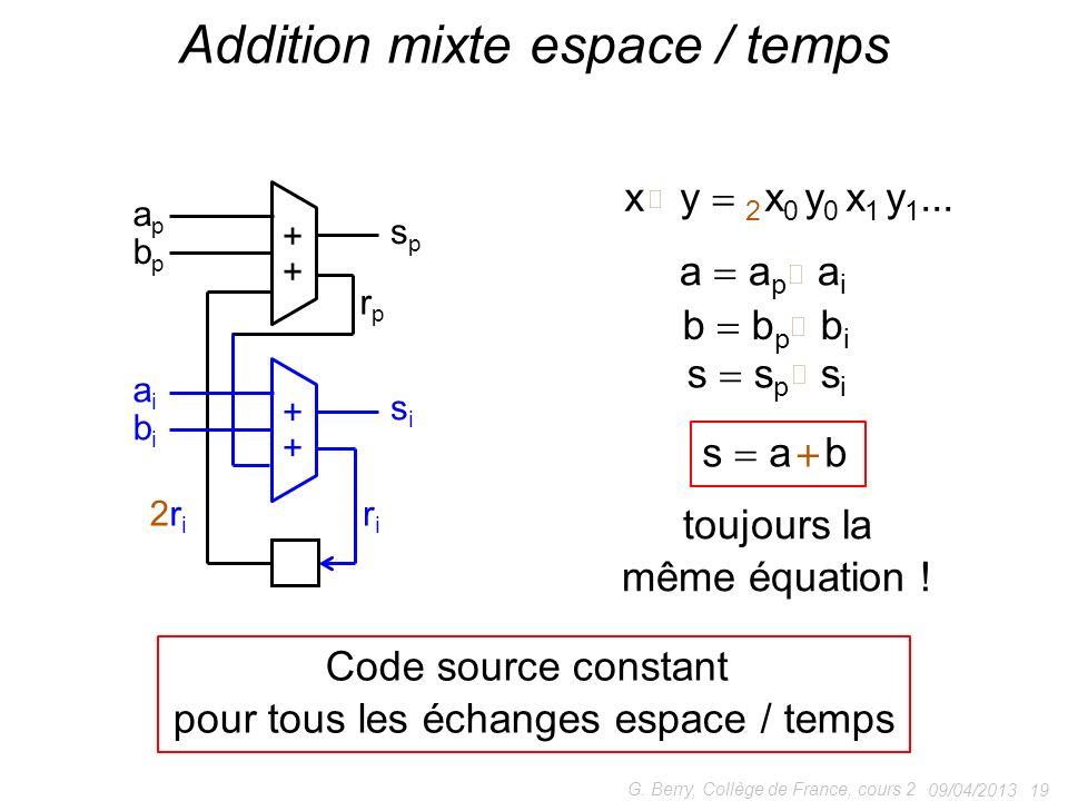 Addition mixte espace / temps
