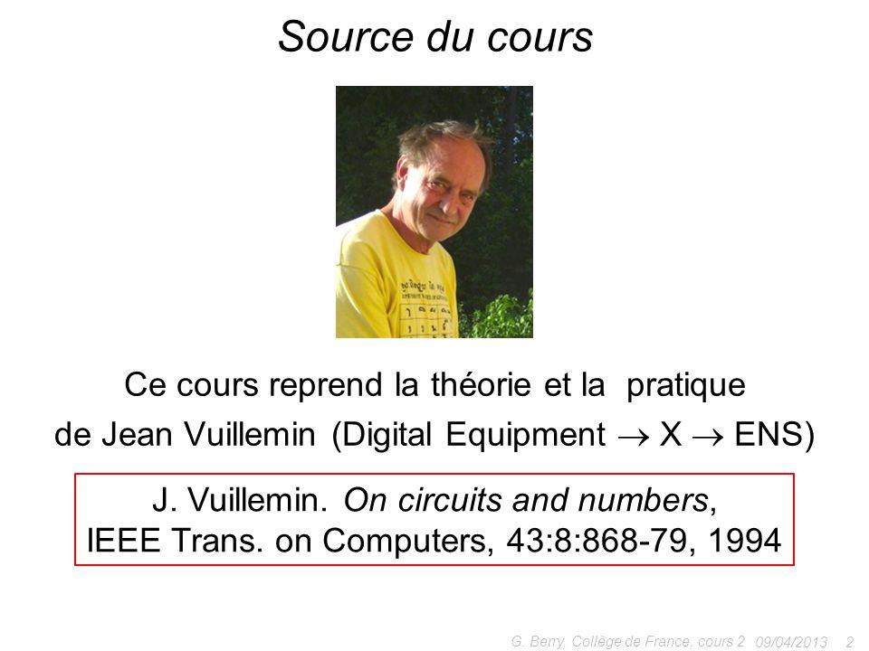 Source du cours Ce cours reprend la théorie et la pratique de Jean Vuillemin (Digital Equipment  X  ENS)