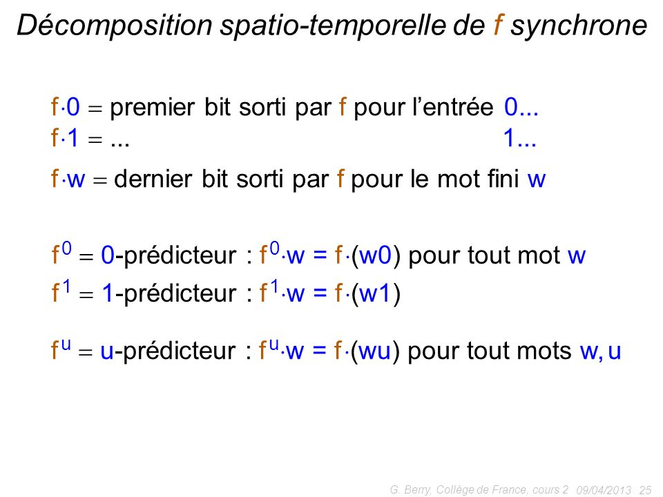 Décomposition spatio-temporelle de f synchrone