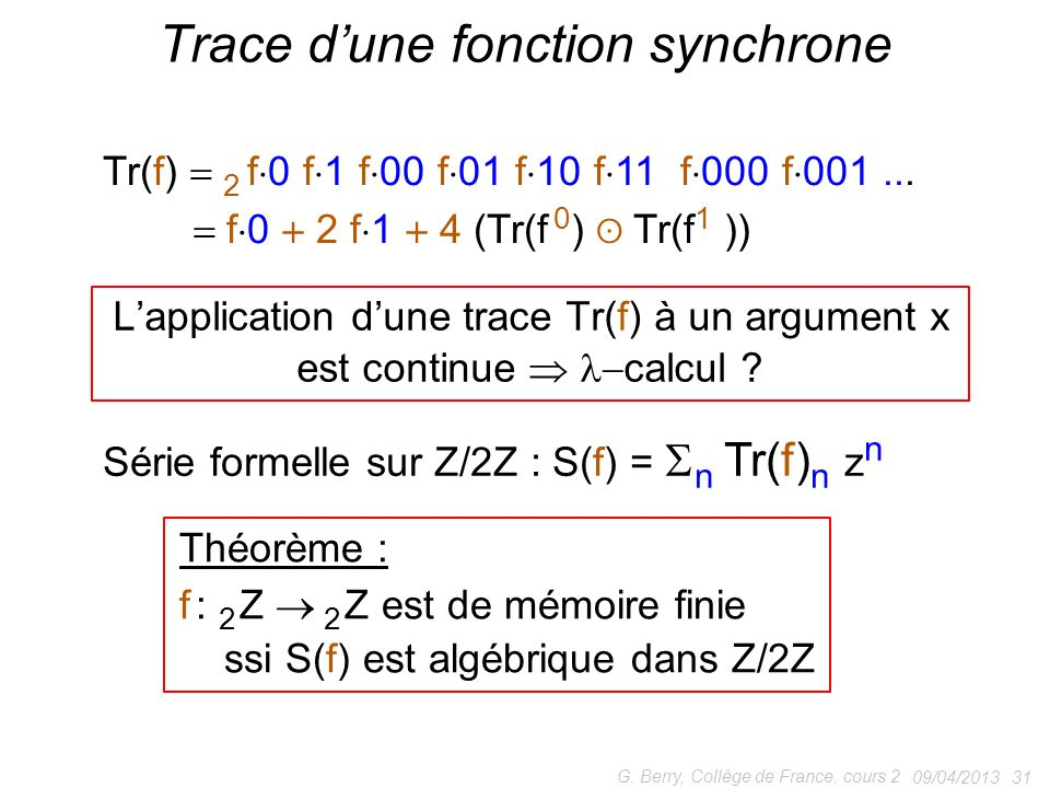 Trace d'une fonction synchrone